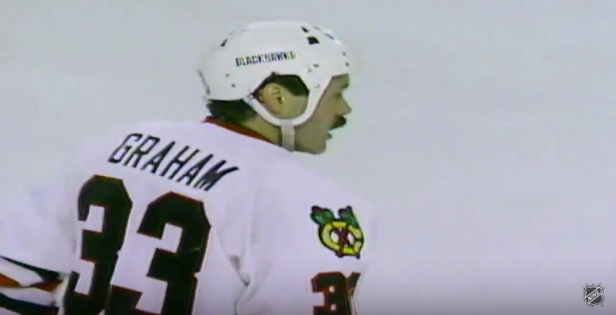Blackhawks captain Dirk Graham skating back to the bench after his second goal of the first period of game 4 of the 1992 Stanley Cup Final.