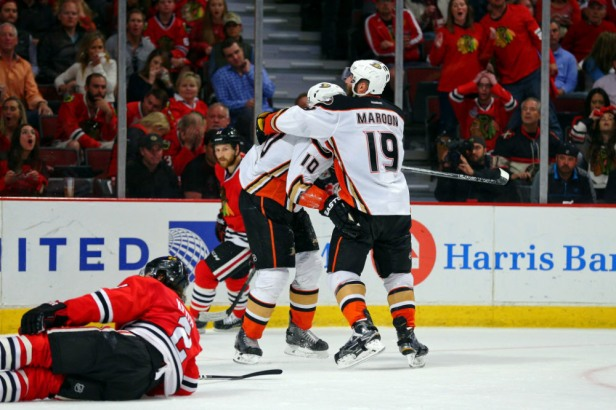 May 23, 2015; Chicago, IL, USA; Anaheim Ducks right wing Corey Perry (10) is congratulated by left wing Patrick Maroon (19) after scoring against the Chicago Blackhawks during the third period in game four of the Western Conference Final of the 2015 Stanley Cup Playoffs at United Center. Mandatory Credit: Dennis Wierzbicki-USA TODAY Sports ORG XMIT: USATSI-225466 ORIG FILE ID:  20150523_jcd_aw6_062.JPG