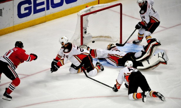 May 23, 2015; Chicago, IL, USA; Chicago Blackhawks center Antoine Vermette (80) scores the game winning goal against the Anaheim Ducks during the second overtime period in game four of the Western Conference Final of the 2015 Stanley Cup Playoffs at United Center. The Chicago Blackhawks won 5-4 in two overtimes. Mandatory Credit: David Banks-USA TODAY Sports ORG XMIT: USATSI-225466 ORIG FILE ID:  20150523_jcd_bb6_119.JPG