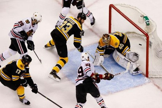 BOSTON, MA - JUNE 24: Bryan Bickell #29 of the Chicago Blackhawks scores a goal in the second period past Tuukka Rask #40 of the Boston Bruins during Game Six of the Stanley Cup Final on June 24, 2013 at TD Garden in Boston, Massachusetts. (Photo by Jared Wickerham/Getty Images)