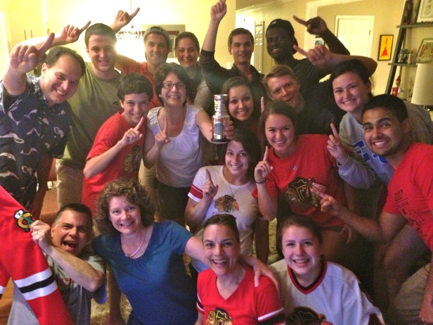 Picture of our annual playoff watch party at the Bonistalli house. All smiles after a second Stanley cup together.