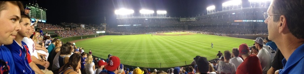 Two of my best friends, die hard Cubs fan, enjoying Wrigley from the bleachers.