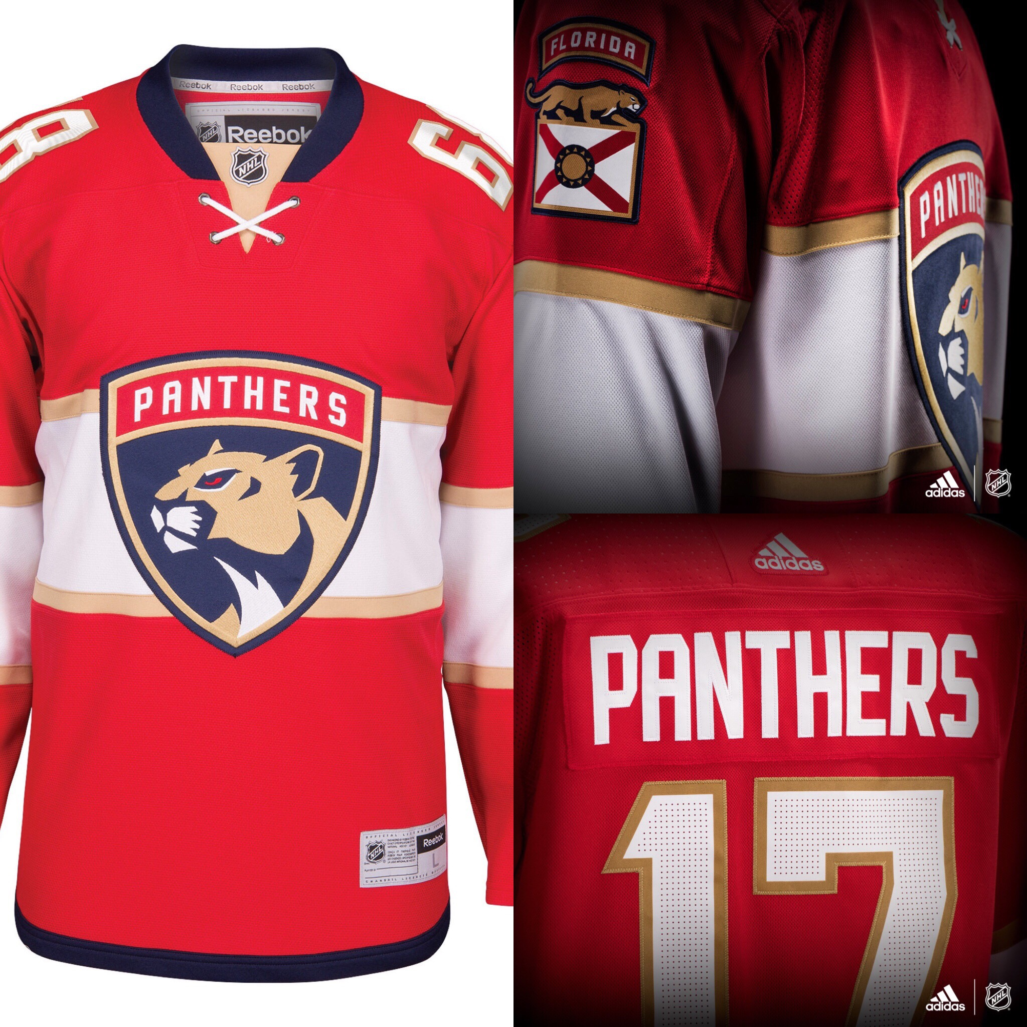Mens Florida Panthers Reebok Red Premier Home Jersey Florida Panthers. No  change. 79e37be00